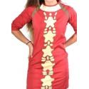 Vestido mujer media manga color rojo y gris