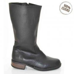 botas de mujer cuero negro texturado
