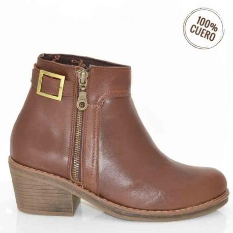 botines de mujer con cierre dorado