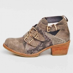 Botin cut out taupe dos correas