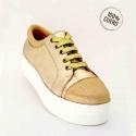 Zapatilla color oro en dos tonos