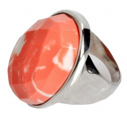 Anillo plata con piedra coral rosado